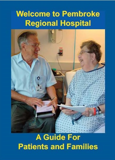 The cover of the Welcome Guide shows a volunteer speaking with a patient in a hospital gown sitting on the edge of her bed.